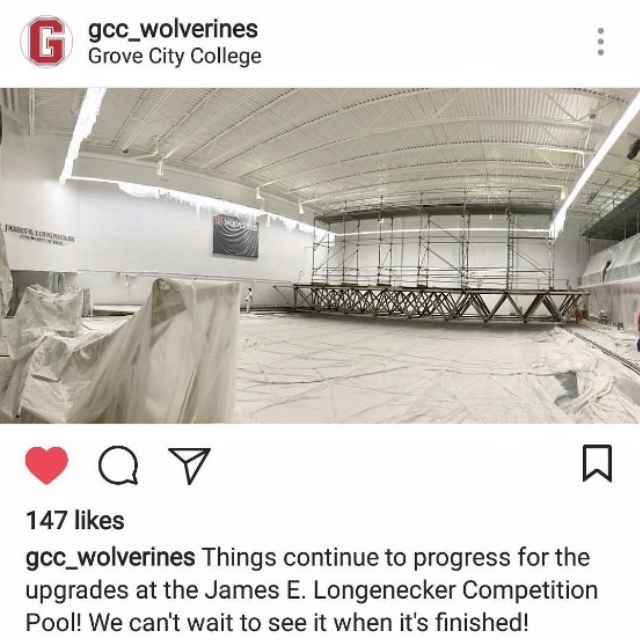 grovectycollege#repost from @gcc_wolverines: Lots of big projects happening on campus this summer, including a renovation of the James E. Longnecker Competition Pool!